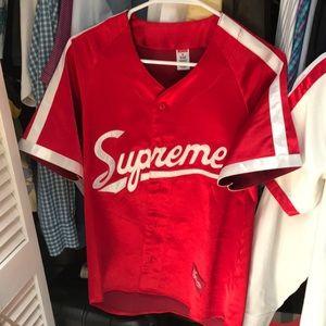 ... Supreme Satin Baseball Jersey Supreme Duffle Bag Red ... 0c5686760